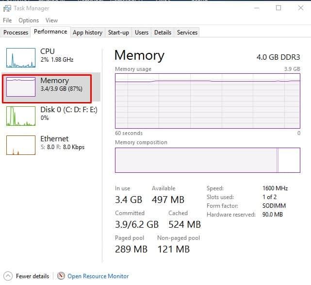 Check Used & Empty RAM Slots on Windows 10