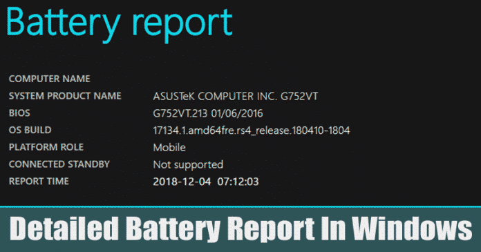 Here's How To Create a Detailed Battery Report In Windows 10