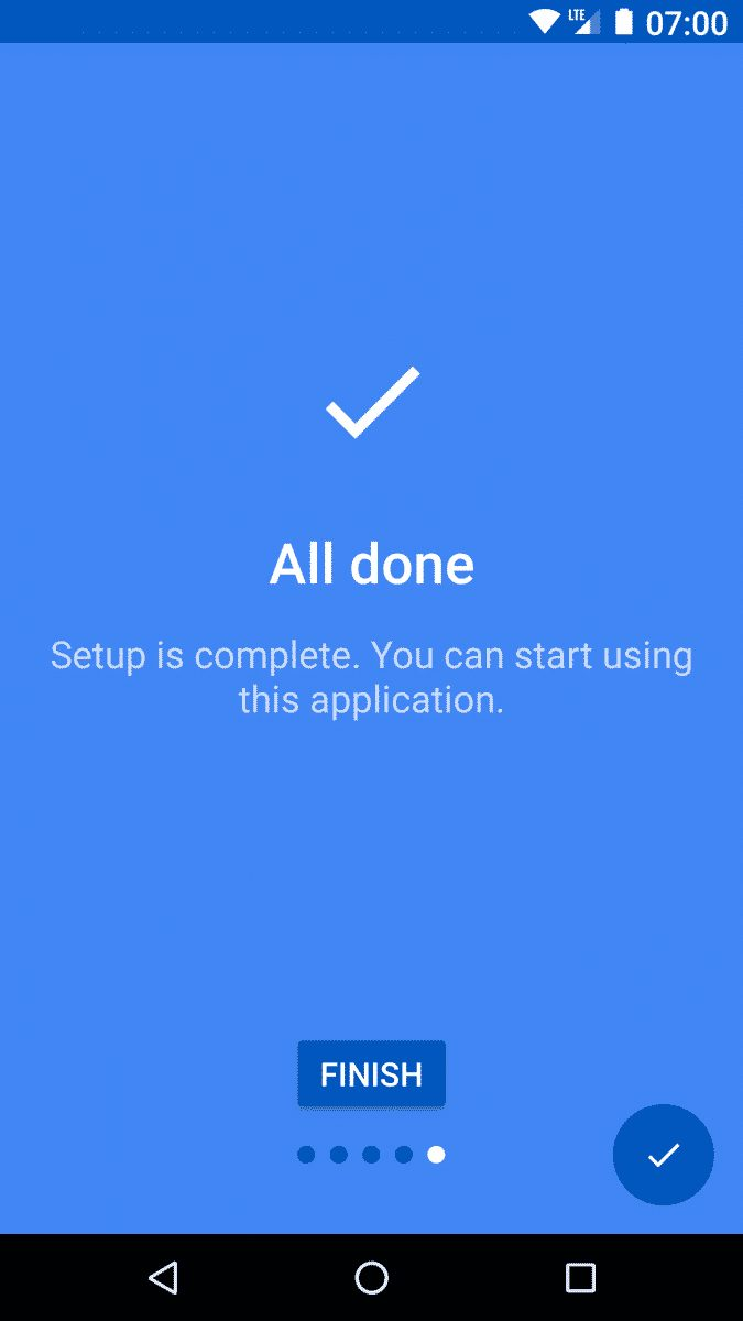 tap on the 'Finish' button