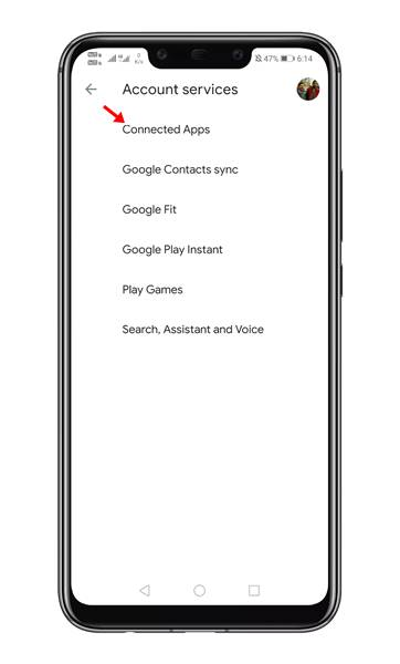Tap on the 'Connected Apps' option