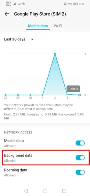 Check the Background Data Usage