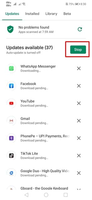 Stop the Ongoing Downloads