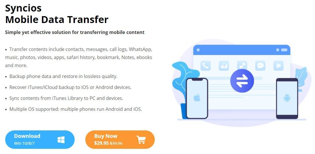 Syncios Phone Data Transfer tool