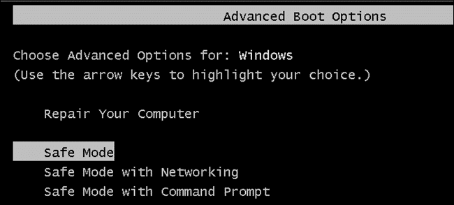 Boot Into the Safe Mode