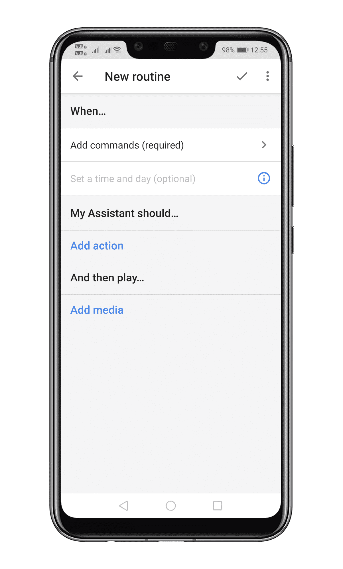 tap on the 'Add action' button to select the actions