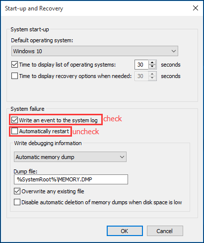 Uncheck the option 'Automatically Restart'.