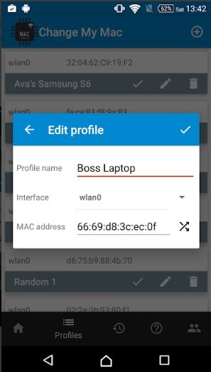 Edit existing profiles