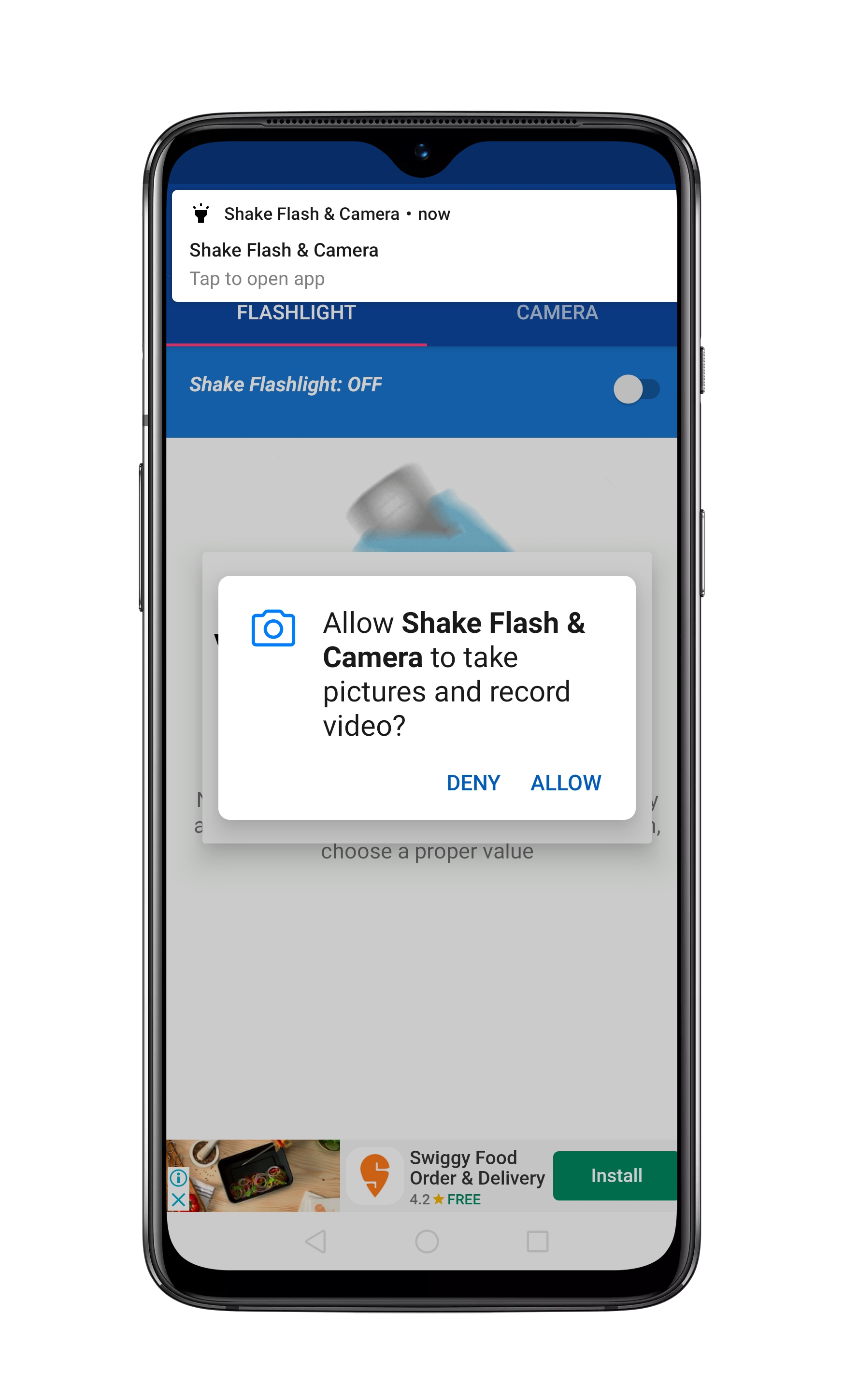 Turn On Flashlight By Shaking Your Phone