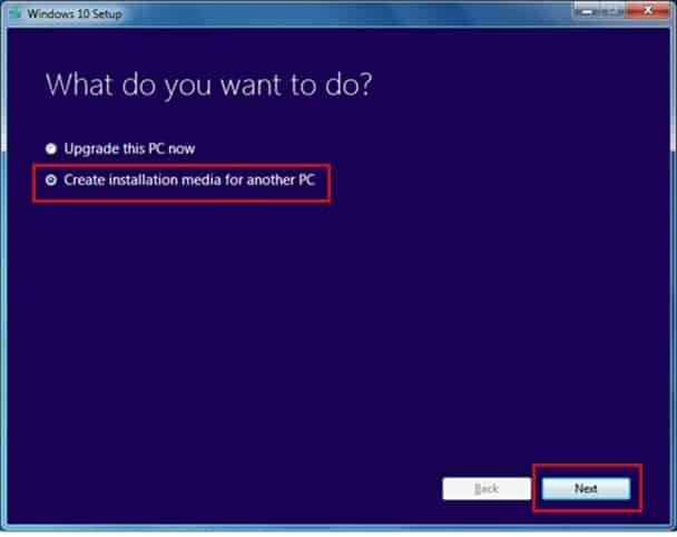 Select 'Create installation media for another PC' option
