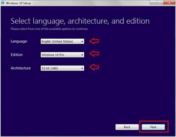 Select the Language, Edition, and Architecture