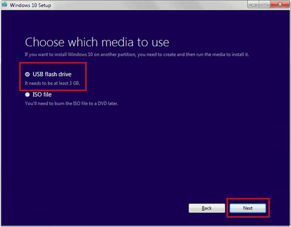 Select the 'USB flash drive' option