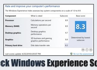 How to Check Windows Experience Score on Windows 10