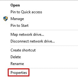 Click on 'Properties'