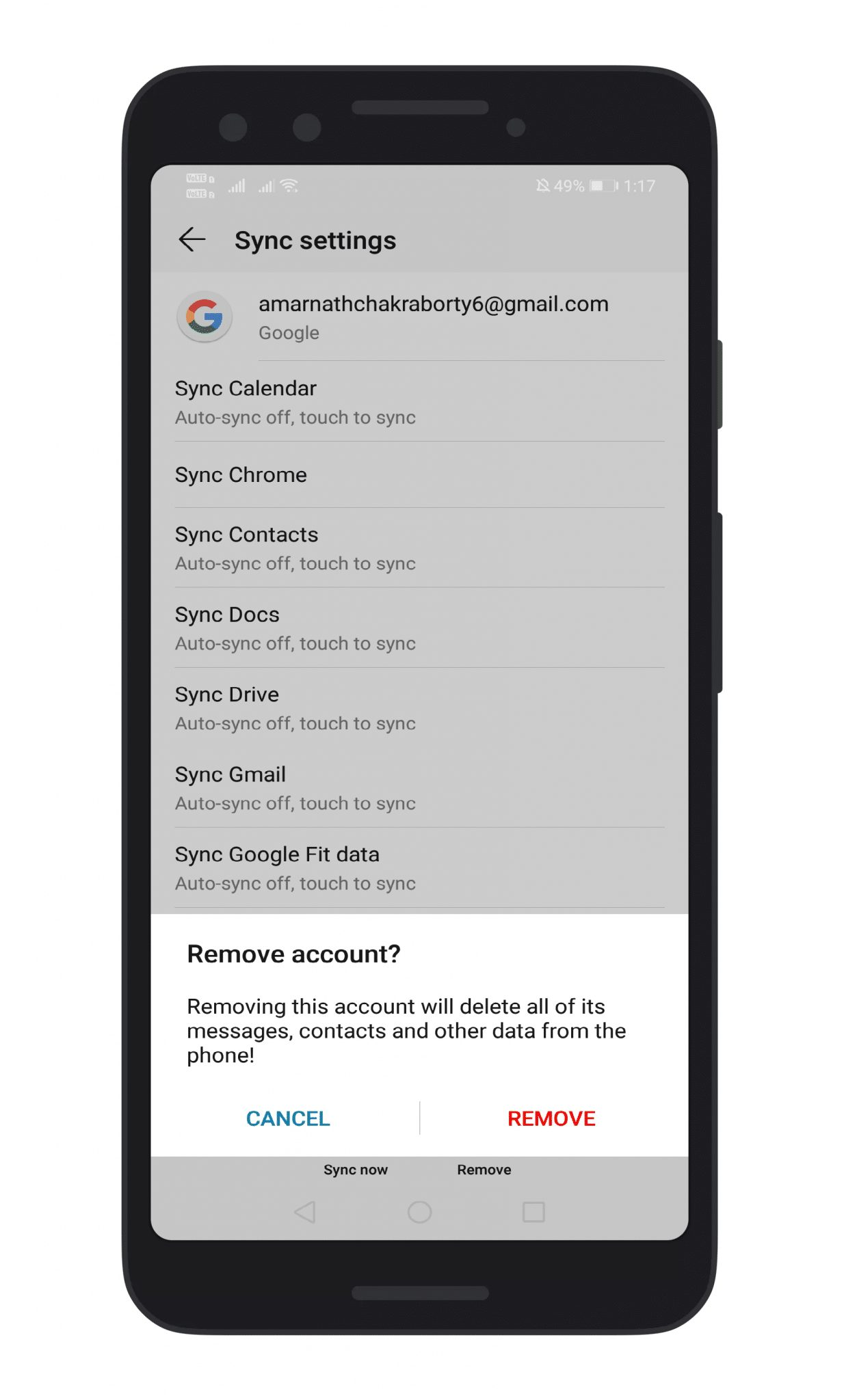 Remove & Add Your Google Account