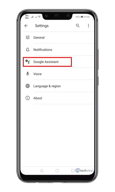Select 'Google Assistant'
