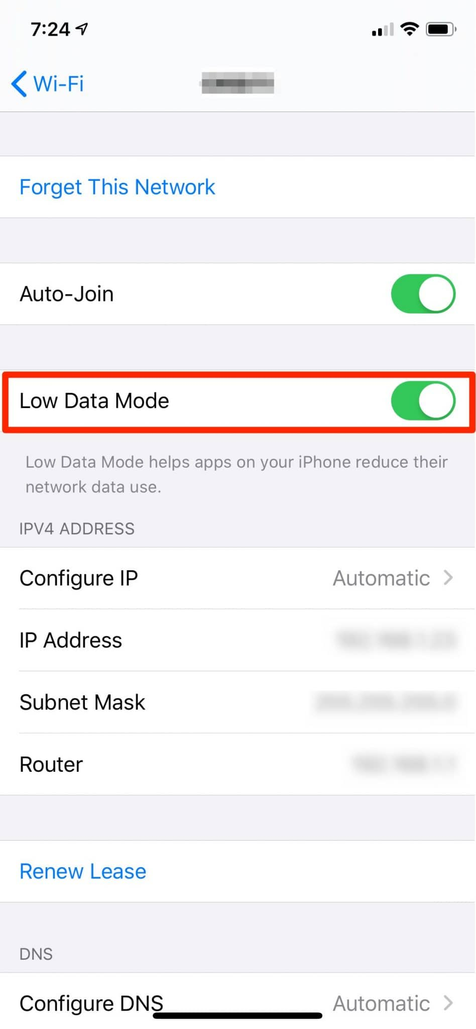 Enable Low Data Mode For WiFi