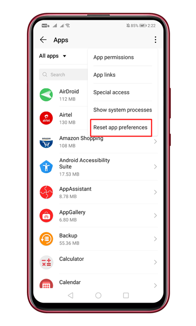 Select 'Reset app preferences'