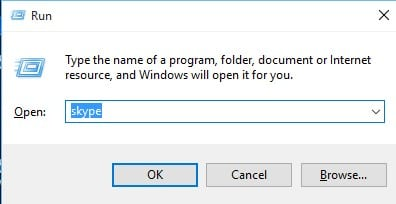 Open Run and type in 'Skype'