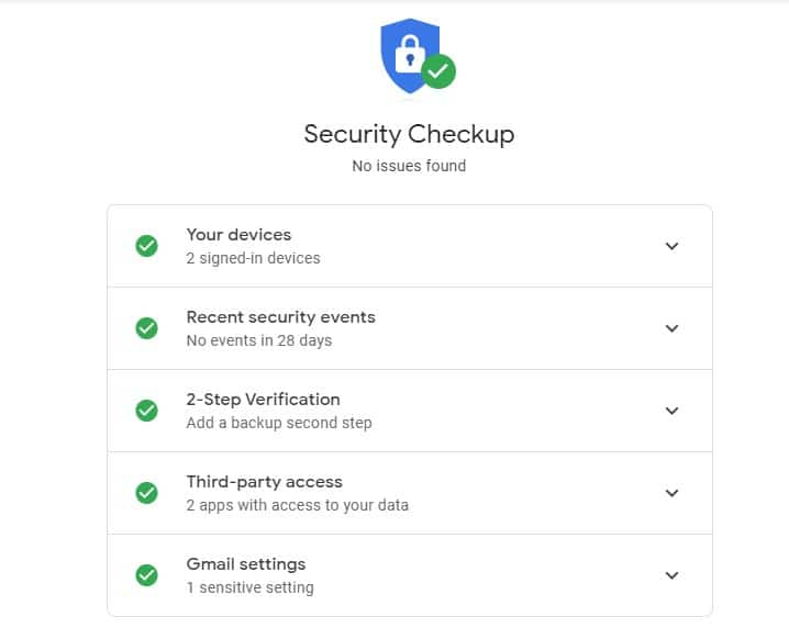 Security checkup page