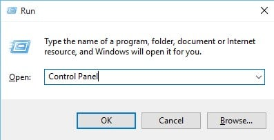 Open Control Panel From RUN dialog Box