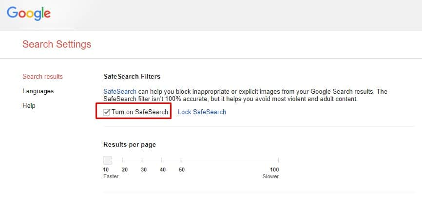 Enable 'Turn On SafeSearch'