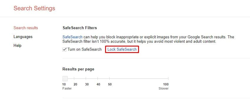 You can also enable 'Lock SafeSearch' to lock it