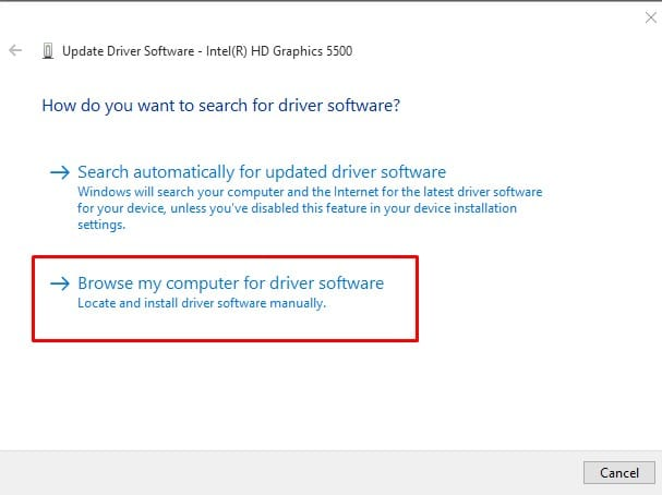 Select 'Browse my computer for driver software'