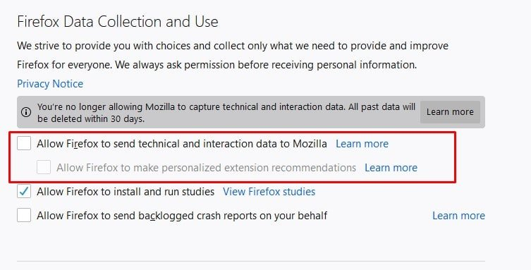 Uncheck the option 'Allow Firefox to send technical and interaction data to Mozilla'