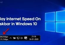 Display Internet Speed on Taskbar in Windows 10