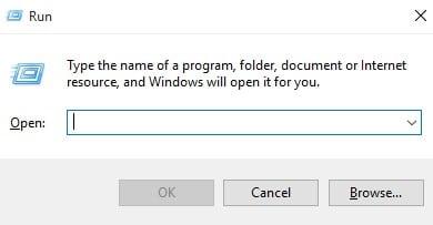 Press Windows Key + R to open Run dialog box