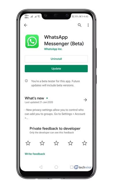 Update WhatsApp Beta App