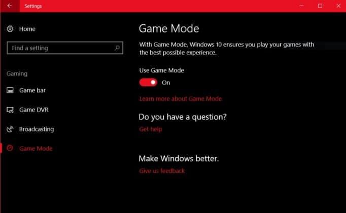 Game Mode Windows 10