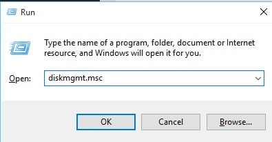 Type in 'diskmgmt.msc' and hit Enter