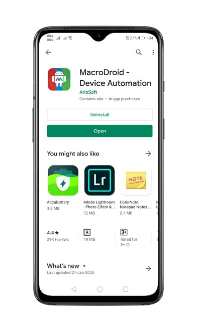 Install MacroDroid app
