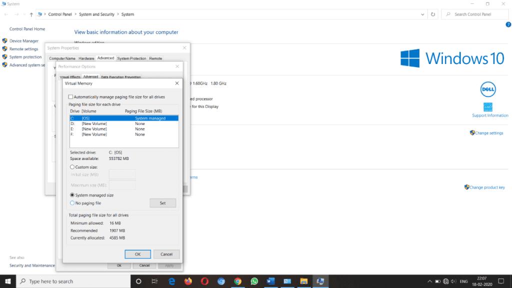Reset Virtual Memory in Windows 10