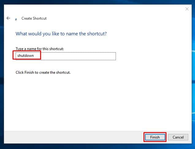 Name the new shortcut and click on 'Finish'