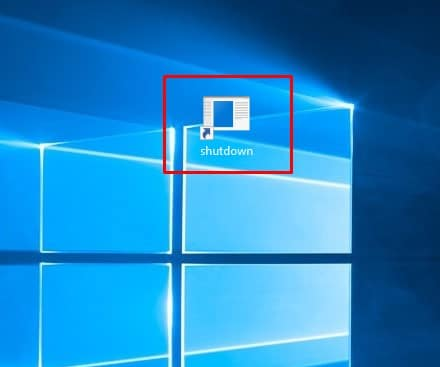Shutdown icon on the desktop
