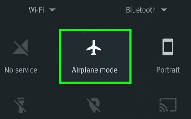Turn on/off the Airplane Mode