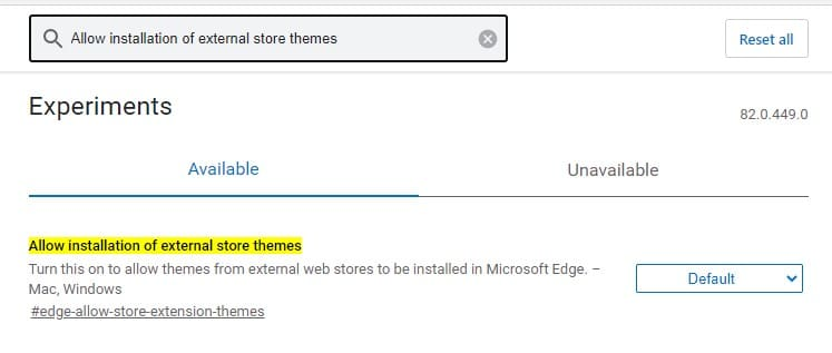 Search for 'Allow installation of external store themes'