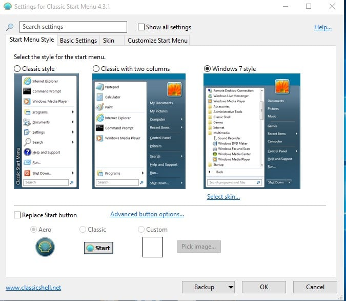 Select the Start menu style