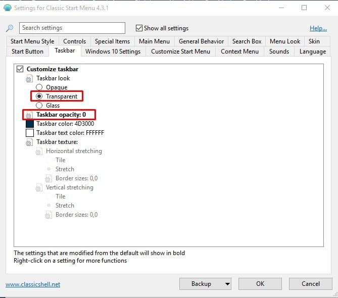 Select 'Transparent' and set the 'Taskbar opacity' '0'
