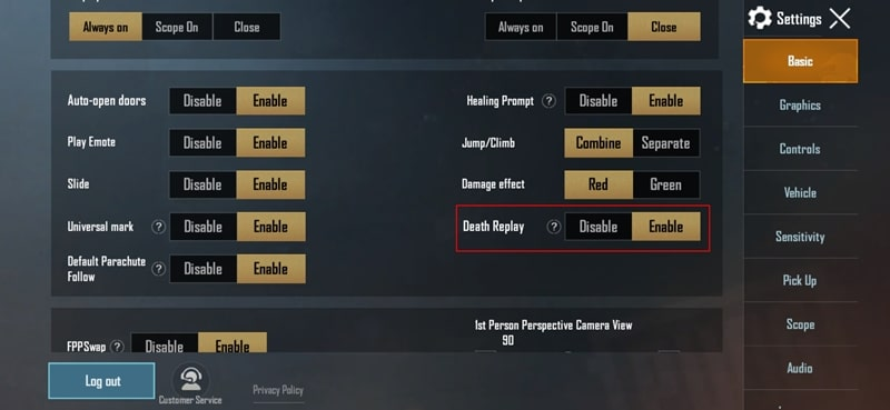 Enable Death Replay Option
