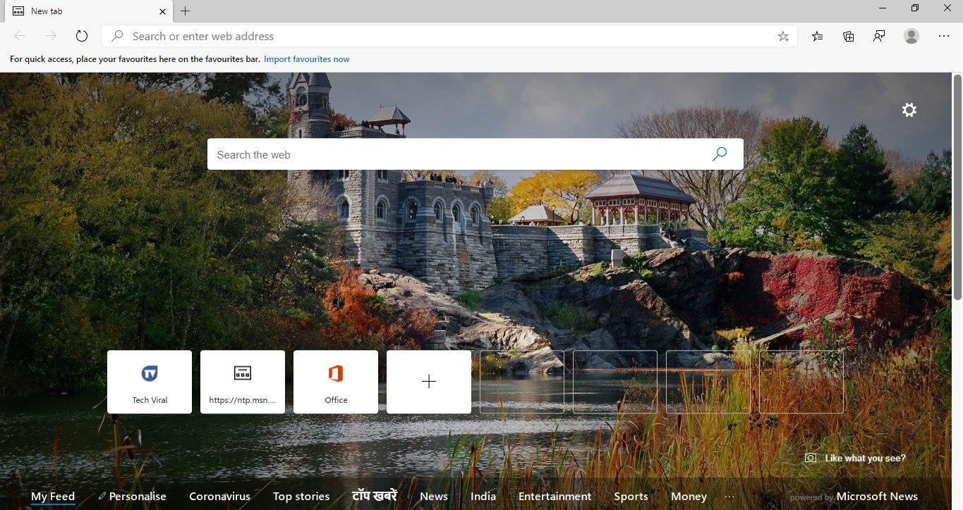 Launch the Edge browser