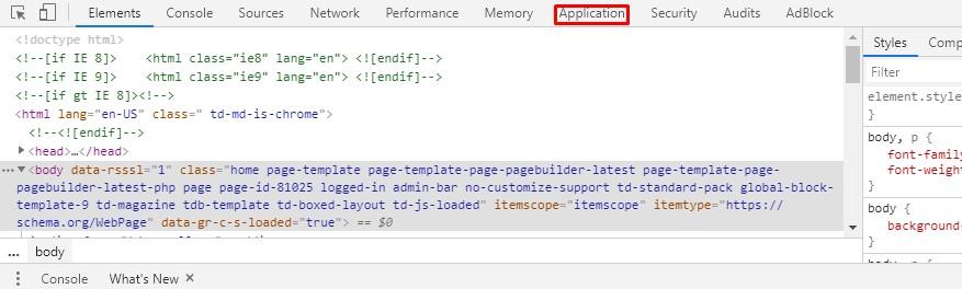 """حدد جزء """"التطبيق""""."""