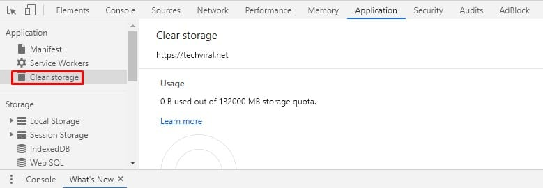Select 'Clear Storage.'