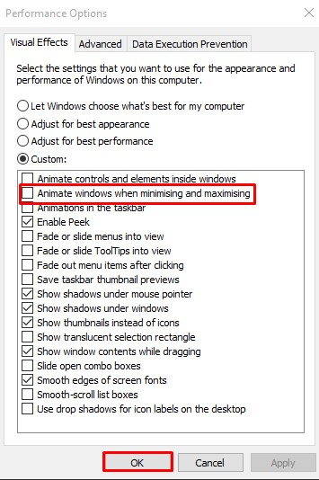 Uncheck 'Animate Windows when minimizing or maximizing' and click on 'Ok'