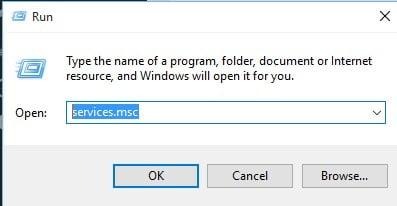 Enter 'services.msc'