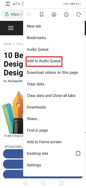Select 'Add to Audio Queue'