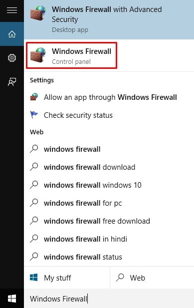 Open Windows Firewall