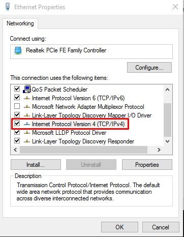 """حدد """"Internet Protocol Version 4 (TCP / IPv4)"""""""